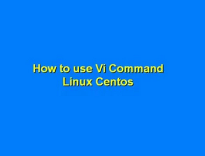 Vi Command Linux VPS